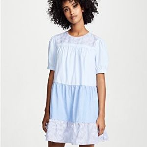 English Factory blue striped swing dress Small